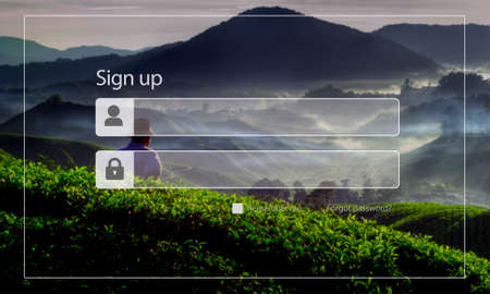 agriculture icon: Sign Up Registration Password Privacy Security Concept Stock Photo