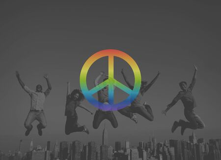 tranquil scene on urban scene: Peaceful Liberty Protest Symbol Gradient Concept