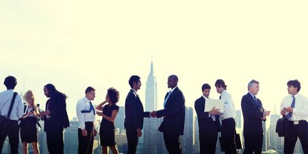 new york skyline: Business People New York Handshake Concept
