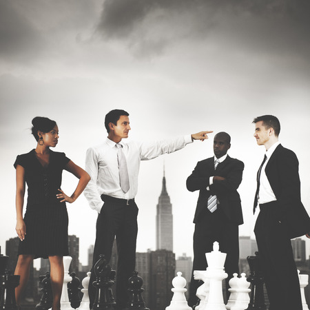 provoked: Business People Chess Arguement Confrontation Concept Stock Photo