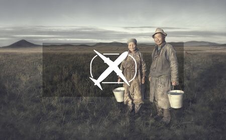 independent mongolia: Mongolian Couple Farmers Holding Basin Posing Field Concept Stock Photo