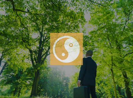 and opposite: Yin Yang Balance Contrast Opposite Religion Culture Concept Stock Photo