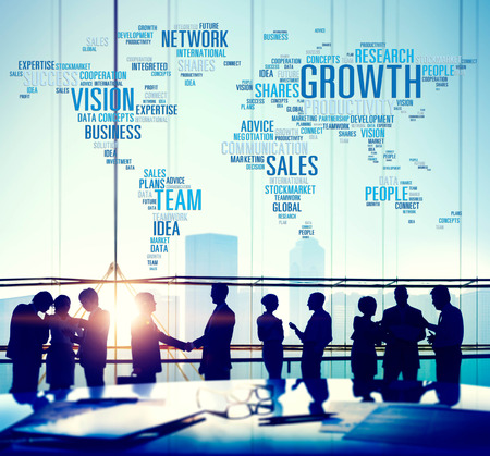 economy growth: Growth Sales Vision Team Network Idea People Concept