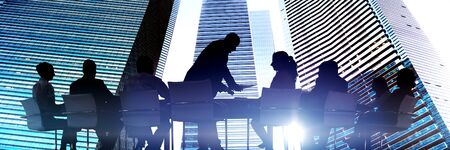 outdoor training: Silhouettes of Business People Meeting Outdoors Concept