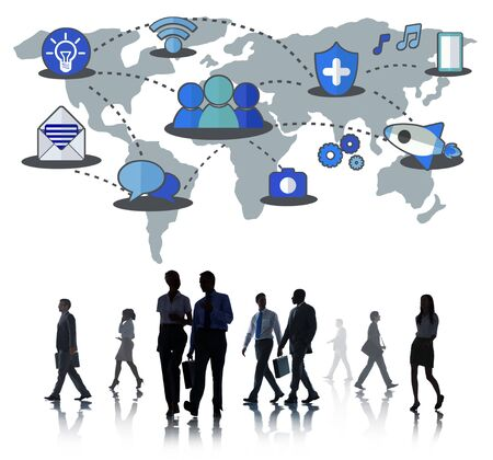 businessman walking: Social Network Sharing Global Communications Connection Concept Stock Photo