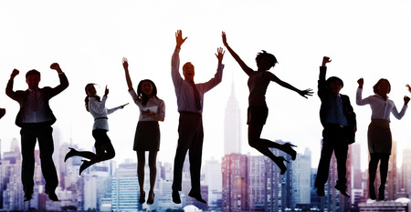 ecstatic: Business People Celebration Success Jumping Ecstatic Concept