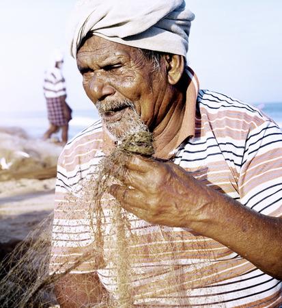 indian subcontinent ethnicity: Indian Fisherman Kerela India Poverty Concept Stock Photo