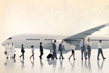 flight mode: Multiethnic Group of Business People Airplane Concept