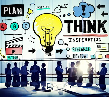 innovation concept: Think Inspiration Knowledge Solution Vision Innovation Concept Stock Photo