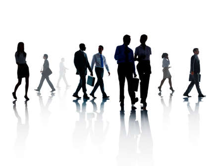 organised group: Corporate Business People Walking Rush Hour Concept