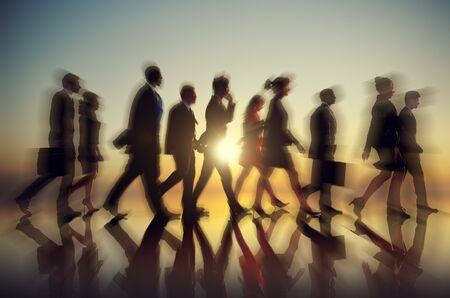 asian people: Business People Walking Commuter Rush Hour Concept Stock Photo
