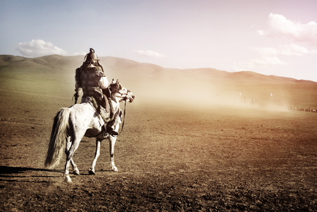 independent mongolia: Lone Man Staring At The Crowd Of Soldiers Army Concept Stock Photo