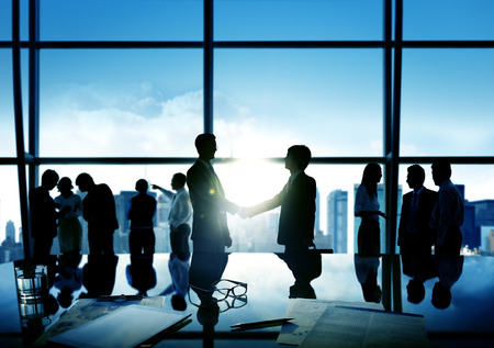 business administration: Businessmen Handshake Deal Business Commitment Concept Stock Photo