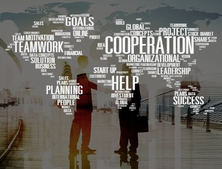 international business agreement: Cooperation Unity Partnership Collaboration Teamwork Concept Stock Photo