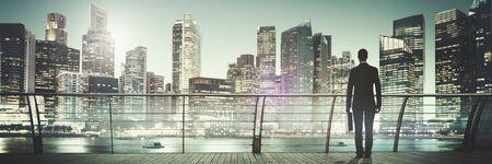 ビジネスマン企業都市の景観都市のシーン ビル コンセプト
