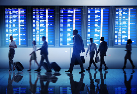 airport business: Business People Airport Terminal Travel Departure Concept