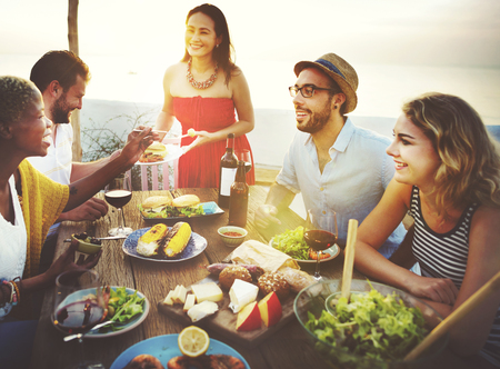 party food: Beach Cheers Celebration Friendship Summer Fun Dinner Concept
