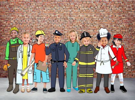 painting on the wall: Children Kids Dream Jobs Diversity Occupations Concept Stock Photo