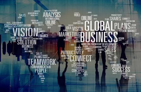 グローバルなビジネス ビジョン ソリューション チームワークの成功の概念を接続します。 写真素材