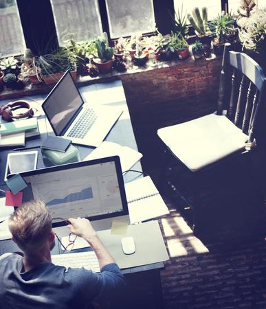 determine: Businessman Determine Ideas Working Plan Concept