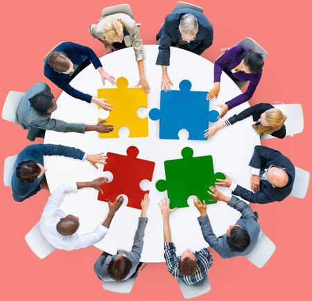 aerial view: Business People Jigsaw Puzzle Collaboration Team Concept