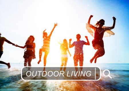 enjoyment: Outdoor Living Beach Enjoyment Summer Holiday Concept