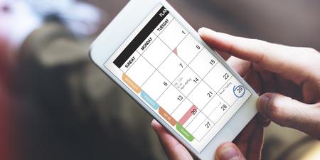カレンダーは、通信データの情報概念を思い出させる 写真素材