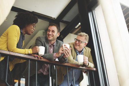 chit chat: Group Business People Chatting Balcony Concept Stock Photo