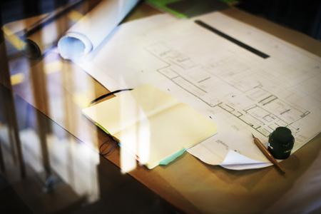 planung: Construction Blueprint Projekt arbeiten Einplanungskonzept