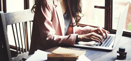 Businesswoman Secretary Reading Book Story Concept Stockfoto