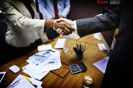 african business man: Business People Handshake Greeting Deal Concept