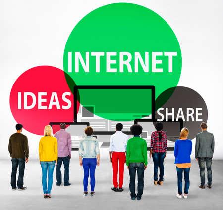 facing backwards: Internet Share Networking Global Communication Concept