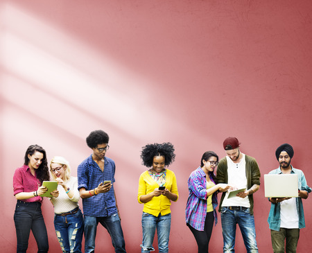 man studying: Diverse Group Students Studying Together Wall Concept Stock Photo
