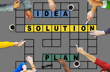 the solution: Solution Ideas Plan Solving Result Crossword Concept Stock Photo