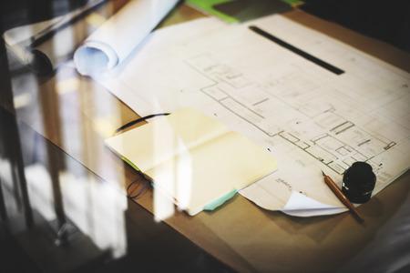 Projet Blueprint de Construction de travail Concept Planification Banque d'images - 49844903