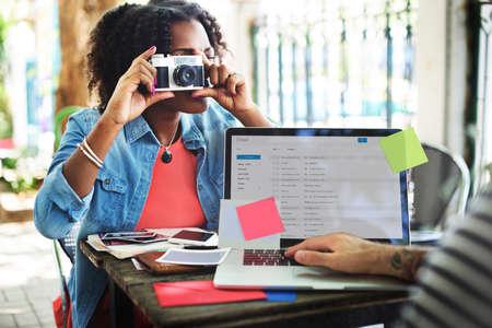 correspondencia: Photograph Email Computer Digital Correspondence Concept Foto de archivo
