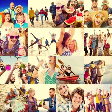 collage caras: Collage Caras Diversos Summer Beach Concepto