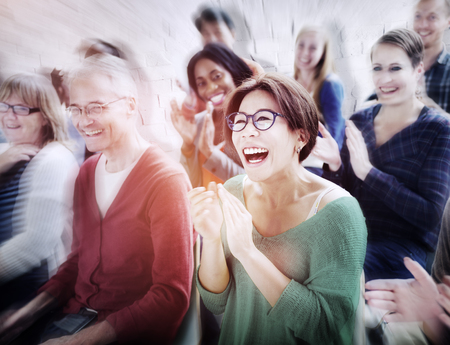 awarding: Audience Applaud Clapping Happines Appreciation Training Concept Stock Photo