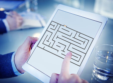 Maze in tablet concept Stock Photo