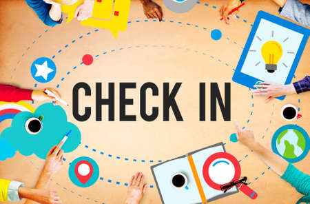 check in: Check in Location Navigation Position Place Concept