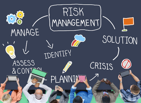 management meeting: Risk Management Solution Crisis Identity Planning Concept Stock Photo