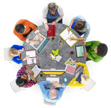 photo people: Aerial View of People with Digital Devices Stock Photo