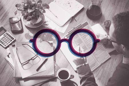 filling folder: Eyeglasses Icon Glasses Vision Lens Decoration Concept