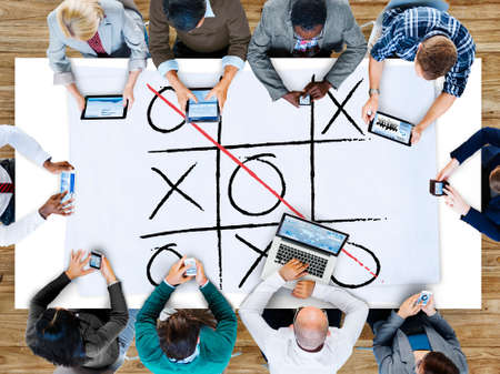 business competition: Leisure Game Tic Tac Toe Competition Challenge Winner Concept Stock Photo