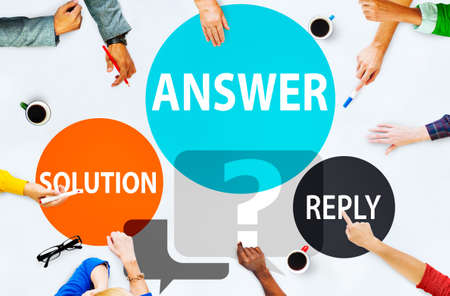Answers Solution Reply Response Problems Concept Stock Photo