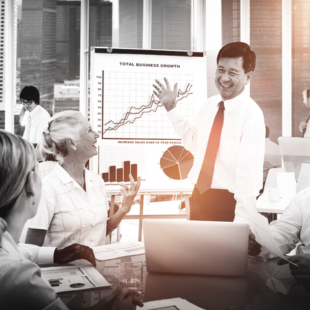 Business People Meeting Growth Discussion Corporate Concept Stock Photo