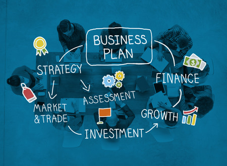 business research: Business Plan Strategy Marketing Vision Finance Growth Concept Stock Photo