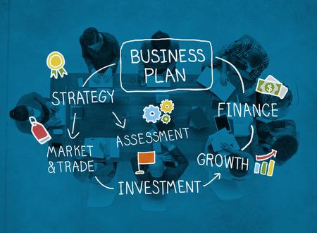 Business Plan Strategy Marketing Vision Finance Growth Concept Foto de archivo