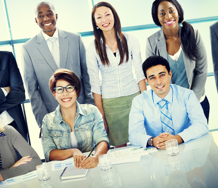 team leadership: Business People Meeting Discussion Communication Concept Stock Photo