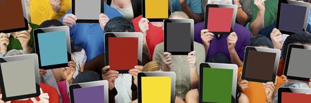 anonymous people: Diverse Group People Holding Tablet Faces Anonymous Concept
